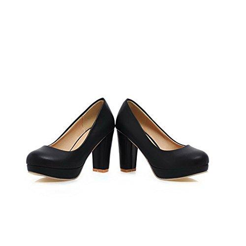 à shoes Heels High Noir Matière balamasa Toe douce pumps Femme enfiler Round gqw7TH0A