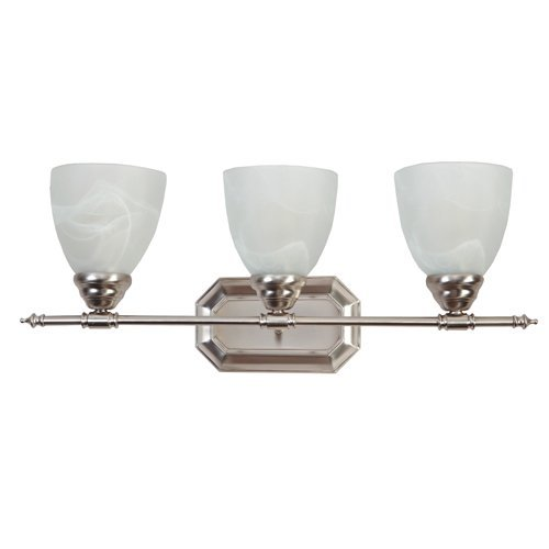 Y-Decor L323BN Modern, Transitional, Traditional 3 Light Bathroom Vanity Fixture Brushed Nickel with White Glass By, Brushed Nickel, Silver