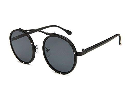 de protection Lunettes polarisées lunettes Noir de soleil de hommes des de personnalité Gris soleil et UV femmes la vintage des rétro AdqtFqw