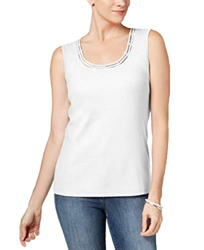 Karen Scott Studded Tank Top (Bright White, L)
