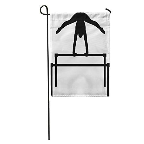 Semtomn Garden Flag Silhouette Uneven Bars Gymnast Acrobatic Girl Acrobat Aerobics Artistic Asymmetric Home Yard House Decor Barnner Outdoor Stand 28x40 Inches Flag