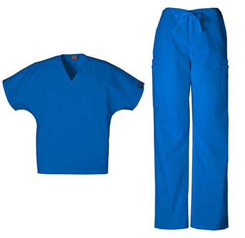 Cherokee Workwear Men's Dental/Medical Uniform Scrub Set - 4777 V-Neck Scrub Top & 4000 Drawstring Cargo Pants (Royal - Small/Medium Short)