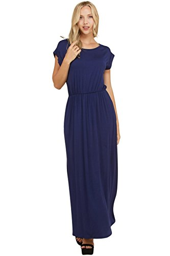 Annabelle Women's Elasticized Shirred Waist Full Length Casual Maxi Dresses Navy Medium (Shirred Waist Knit Dress)