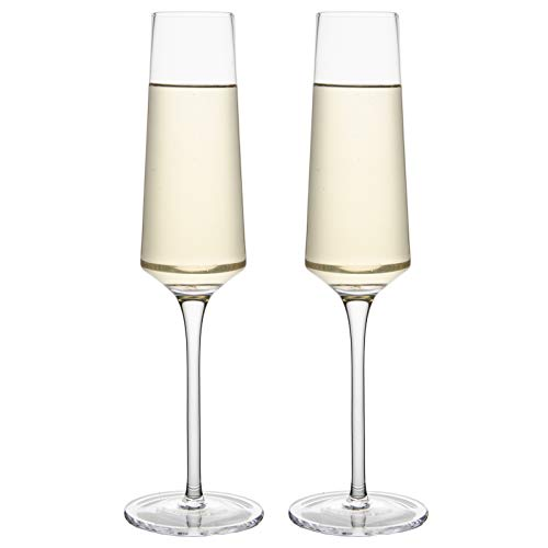 Crystal Champagne Glasses-Long Stem Champagne Flutes Set of 2,Hand Blown Lead-Free, Classic 6.7 Oz Modern Elongated…