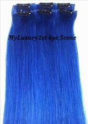 My Scene 6 Piece Clip in Hair Extensions Blue Clip-on Hairstyle Streaks