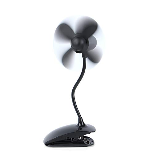 ld Cooling Fan Rechargeable Battery Operated or USB Powered,Mini Portable Fan with Flexible Neck Security for Baby Stroller, Car Seat, Treadmill, Office, Outdoor Camping ()