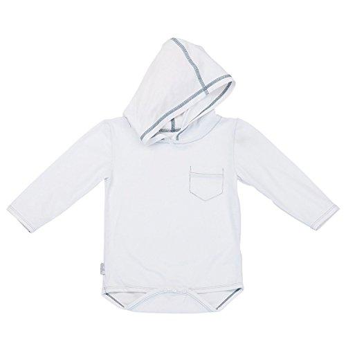 UV SKINZ UPF 50+ Baby Boy Hooded Sunzie- White - 6/12m
