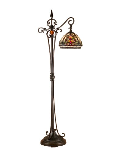 Dale Tiffany TF101115 Boehme Downbridge Floor Lamp, Antique Bronze/Sand and Art Glass Shade Dale Tiffany Antique Floor Lamp