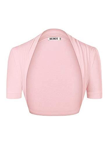 HUHOT Women's Essential Comfy Versatile Bolero Shrug Cardigans Junior(Small,Pink)