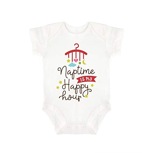 (Promini Cute Baby Onesie Naptime is My Happy Hour (4) Baby Bodysuit Infant One Piece Baby Romper Best Gift for Baby White)