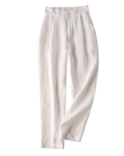 (IXIMO Women's Tapered Pants 100% Linen Front Pleated with Button Closure Elastic Waist Trousers White XXL)
