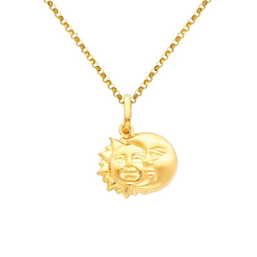 Wellingsale 14k Yellow Gold Polished Sun & Moon Charm Pendant with 1.2mm Classic Cable Chain Necklace