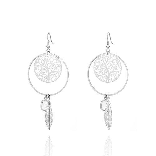 Circular Dangle Earrings (White gold circular hollow decorative pattern earrings alloy leaves tassel crystal dangle earrings)