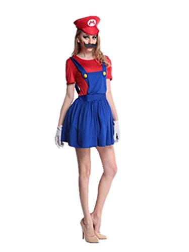 Leright Women's Halloween Costume Mario Adult Cosplay Costume, Red, XL(US Size L)