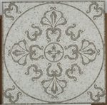 Soho Medallion Square Floral Oriental White + Lady Gray 32x32 Square