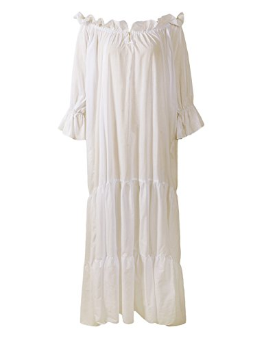ReminisceBoutique Renaissance Medieval Dress Costume Classic Chemise Ruffled Tiered Peasant Sleeve (Regular, -