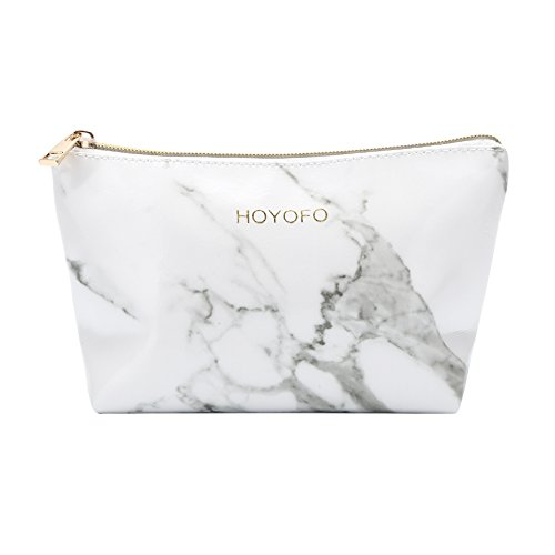 HOYOFO Cosmetic Pouch for Women Travel Makeup Bags Accessories Portable Marble Makeup Brush Organizer Bag Coin Purse, Marble White B
