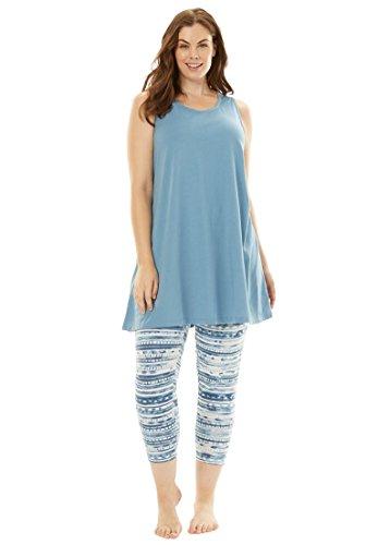Dreams & Co. Women's Plus Size Scoopneck Tank & Capri Legging PJ Set Fountain (Sleeveless Capri Pajamas)