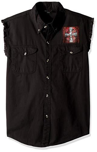 Hot Leathers Men's Celtic Cross Sleeveless Denim (Black, XXX-Large)