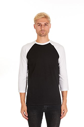 Base Raglan T-shirt (Pacific Mens Raglan 3/4 Sleeve Baseball T-Shirt (Medium, Black / White))
