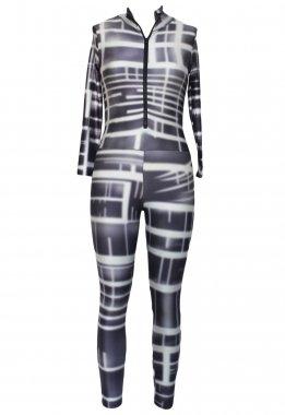 Combinaison Imprimé New Mesdames gris et blanc pour femme Body Club Wear Vêtements Taille M 10–12