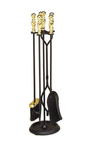 Minuteman International Sutton 5-piece Fireplace Tool Set, Polished Brass and Black
