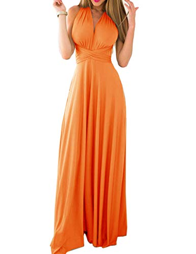 Sexyshine Women's Backless Gown Dress Multi-Way Wrap Halter Cocktail Dress Bandage Bridesmaid Long Dress (OR,M) Orange
