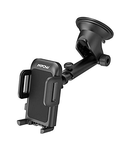 Mpow Upgrade Dashboard Car Phone Mount,Adjustable Windshield Holder Cradle with Strong Sticky Gel Pad Compatible iPhone Xs MAX, XS,XR,X,8,8Plus,7,7Plus,6s, Galaxy S7,S8,S9,S10, Google, LG, Black