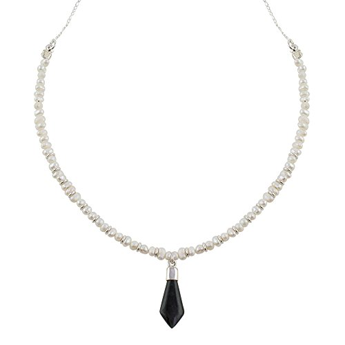 (NOVICA Jade Cream Cultured Freshwater Pearl .925 Silver Beaded Necklace, 18