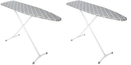 Homz... Contour Steel Top Ironing Board, Extra Stable Legs, Grey & White Filigree Cover (3-(Pack))