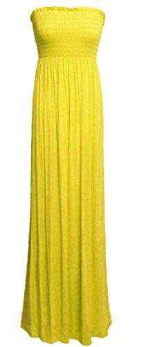 Women's Plain Sheering Bandeau Boob tube Gather Strapless Maxi Dress (SM, YELLOW)