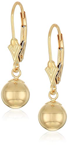 Art and Molly 14k Gold Ball Drop Earrings with Leverback (7mm, yellow-gold)