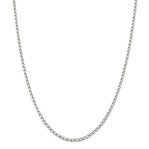 Silver Open Link - Solid 925 Sterling Silver 2.8mm Open Link Chain Necklace 20