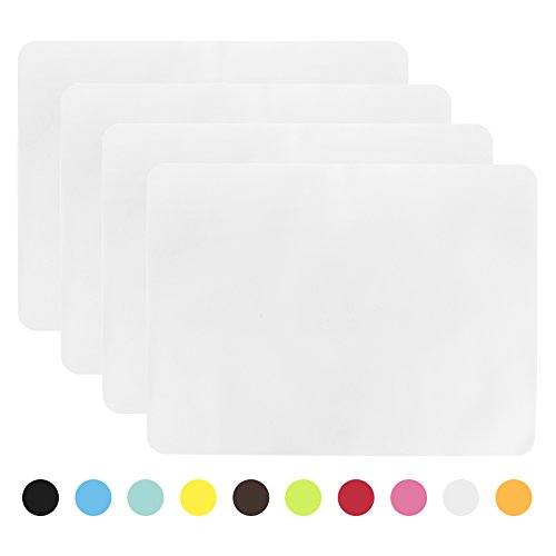 (Aspire 4PCS Thicken Non-Slip Silicone Placemats Cutting Hot Mats Tablemats-White)