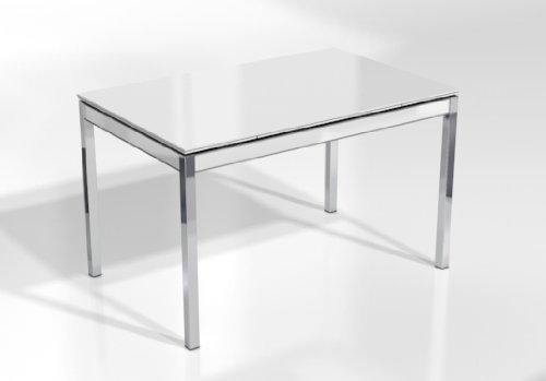 CANCIO MESA EXTENSIBLE BAMBOLA - Encimera Cristal Blanco Brillo/Armazon Blanco/Patas Cromadas, 125X80 cms