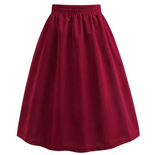 Creazrise Womens 50s Vintage Skirt Knee Length Elastic Waist Pleated Midi A-line Skirts (Red,2XL) -