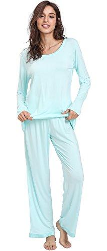 (GYS Women's Bamboo Long Sleeve Pajama Sets (XXL, Aqua))