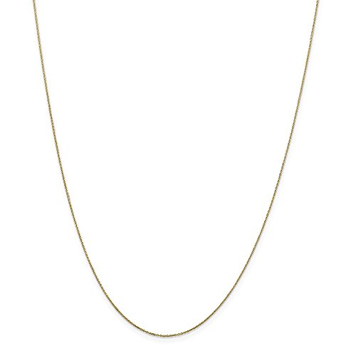 10k Yellow Gold Polished Lobster Claw Closure .6mm Solid Sparkle-Cut Cable Chain Necklace - 14 Inch