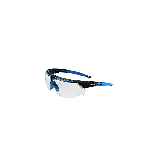 Uvex S2870HS Avatar Adjustable Safety Glasses with HydroShield Anti-Fog Coating, Standard, Blue/Black (Black Anti Fog Safety Glasses)