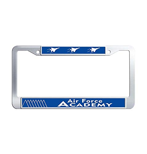 JiuznseateFrame United States Air Force Academy License Plate Frame Holder, Personalized Waterproof Metal Stainless Steel License Frame Holder with Screw Caps