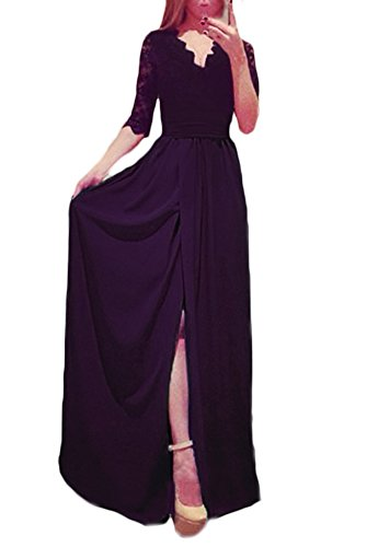 Maxi V Eleganti Da Lungo Spacco Vestiti Abito Manica Estive Partito Sera Cerimonia Festa Abiti Vintage Nero Vestito Autunno 4 Splicing Scollo 3 Donna Vestitini Pizzo Da UqFq5Pw