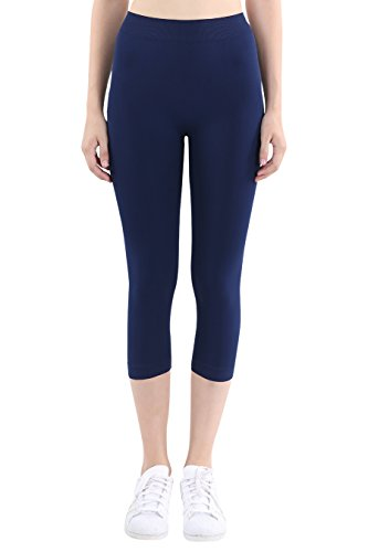 (Nikibiki Women's Seamless Basic Capri Legging Tights, Made in U.S.A, One Size (Navy))