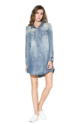 Denim Dress Chambray - Little Smily Women's Casual Loose Fit Chambray Shirt Dress w/ Long Sleeve, Light Denim, S