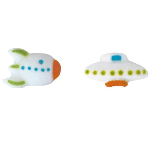 Lucks Dec-Ons Decorations Molded Sugar/Cup-Cake Topper, Space Assortment, 1.25 Inch, 132 Count