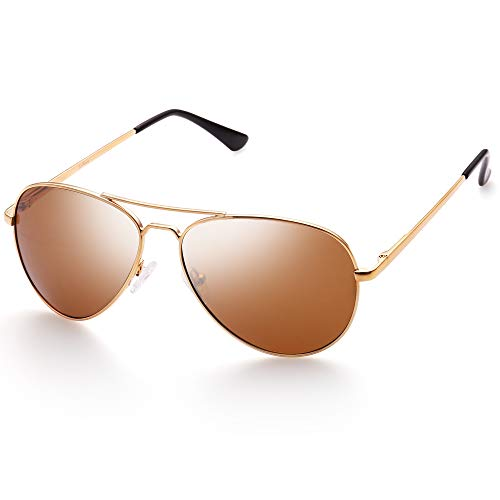 Polarized Aviator Sunglasses for Women with Sunglasses Case, Trendy Brown Lens, Gold Metal Frame, UV Protection