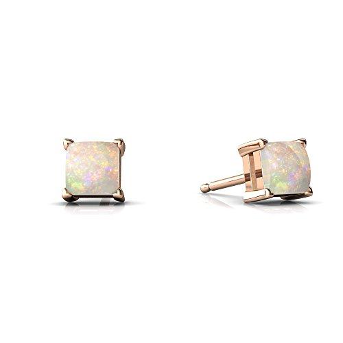 14kt Rose Gold Opal 4mm Square Princess Cut Stud ()