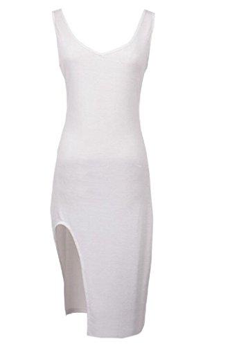 Comodo Donne Del V Bianco Collo Colore Metà Vestito Puro Diviso Sottile Lunghezza HddpnrxgU
