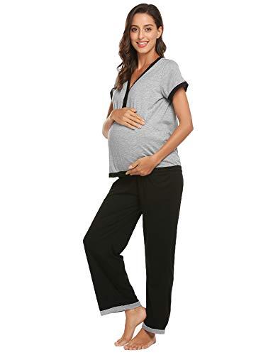 (Ekouaer Pjs Henley Top Pajamas Bottom Down Pajama Set for Women Plus Size)
