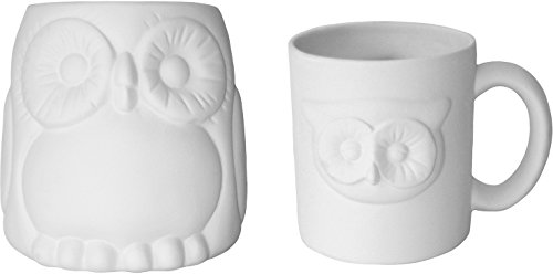 Adorable Owl Mugs - Set of 2 - Paint Your Own Ceramic ()