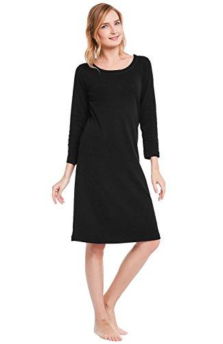 Alexander Del Rossa Womens Cotton Knit Nightgown, 3/4 Length Sleep Dress